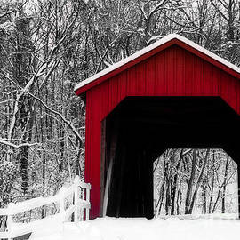 Peggy  Franz - Sandy Creek Cover Bridge with a touch of Red