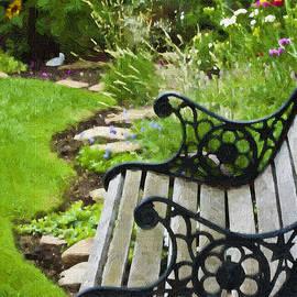 Sandra Foster - Scroll Bench Garden Scene Digital Artwork