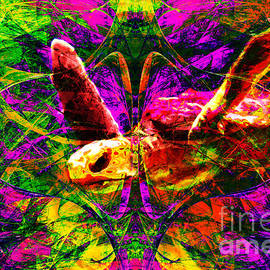 Wingsdomain Art and Photography - Sea Turtle In Abstract v1