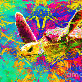 Wingsdomain Art and Photography - Sea Turtle In Abstract v2
