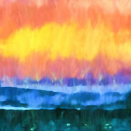 Priya Ghose - Seascape Sunset Abstract Art - Dancing Lights At The Beach