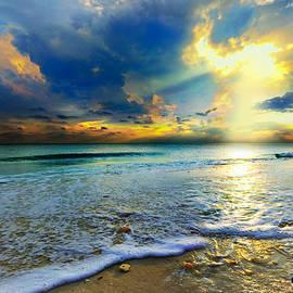 Eszra Tanner - Seascape Sunset-gold Blue Sunset