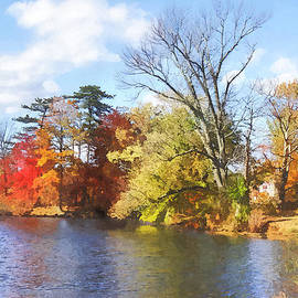 Susan Savad - Seasons - House by Lake in Autumn