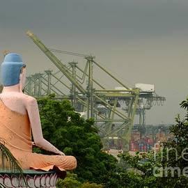 Imran Ahmed - Seated Buddha views busy seaport Singapore Haw Par Villas