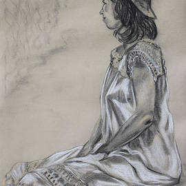 Asha Carolyn Young - Seated Woman in a White Dress and Straw Hat