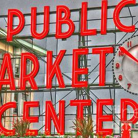 Tap  On Photo - Seattle Public Market Center Clock Sign