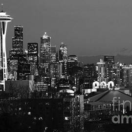 Bob Christopher - Seattle Skyline At Night Monochrome