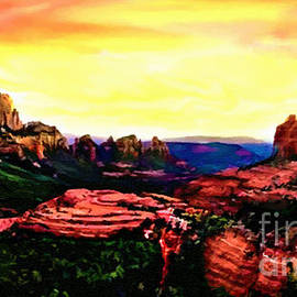 Bob Johnston - Sedona Red Rocks Sunset Painting