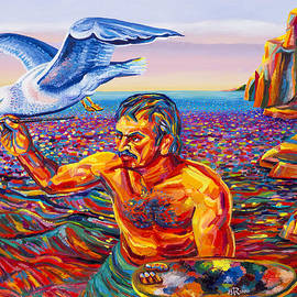 Moshe Rosental - Self  Portrait  With  Seagull
