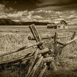 Randall Nyhof - Sepia Colored Photo of a Wood Fence by the John Moulton Farm