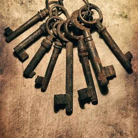 Jaroslaw Blaminsky - Set of old rusty keys on the metal surface