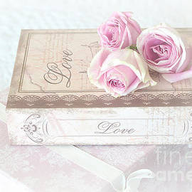 Kathy Fornal - Shabby Chic Cottage Chic Dreamy Pastel Pink Cottage Roses With Romantic Love Pink Books