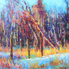 Talya Johnson - Signs of Spring - trees and snow kissed by spring light
