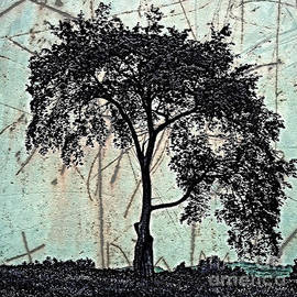 Miss Dawn - Silhouette Style Textured Tree Art
