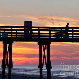 Jo Ann Tomaselli - Silhouetted Fisherman On Ocean Pier At Sunrise