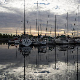 Georgia Mizuleva - Silvery Sailboat Reflections - the Marina and the Pearly Clouds