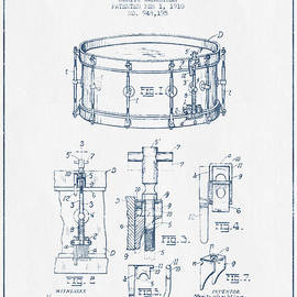 Aged Pixel - Snare Drum Patent Drawing from 1910  - Blue Ink