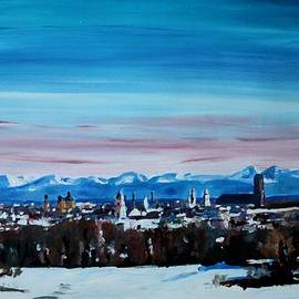 M Bleichner - Snow covered Munich Winter Panorama with Alps