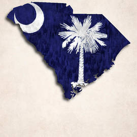 World Art Prints And Designs - South Carolina Map Art with Flag Design