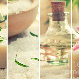 Mythja  Photography - Spa collage with bath salt and flower