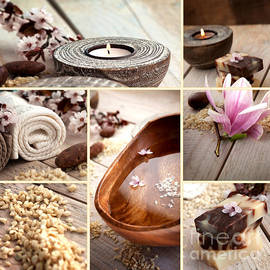 Mythja  Photography - Spa collage with magnolia flower