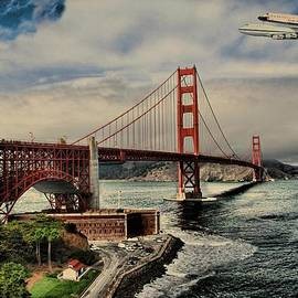 Movie Poster Prints - Space Shuttle Endeavour Over Golden Gate Bridge