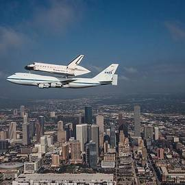 Movie Poster Prints - Space Shuttle Endeavour Over Houston Texas