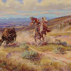 Charles Marion Russell - Spearing A Buffalo