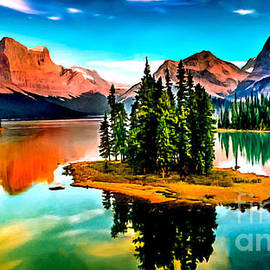 Bob Johnston - Spirit Island on Maligne Lake Jasper National Park