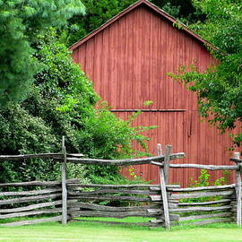 Randall Weidner - Split Rail Fence And Barn In Old Salem