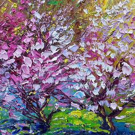 Ekaterina Chernova - Spring Painting of Pink Flowers on Magnolia Tree Fine Art by Ekaterina Chernova