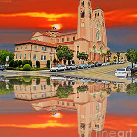 Jim Fitzpatrick - St Anne Church of the Sunset in San Francisco with a Reflection