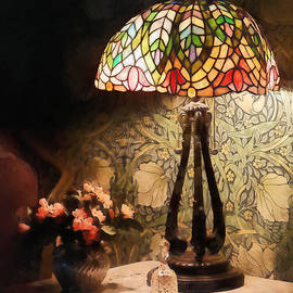 Susan Savad - Stained Glass Lamp and Vase of Flowers
