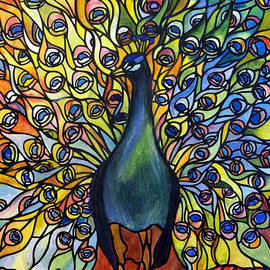 Donna Walsh - Stained Glass Tiffany of Peacock