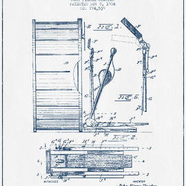 Aged Pixel - Stanton Bass Drum Patent Drawing from 1904 - Blue Ink