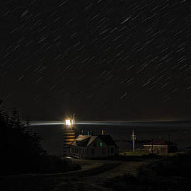 Marty Saccone - Star Trails At West Quoddy Head Lighthouse