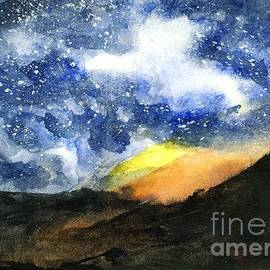Randy Sprout - Starry Night With Fire in Santa Monica Mountains