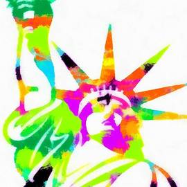 Eti Reid - Statue of liberty colorful abstract