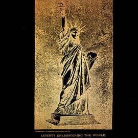 Eti Reid - Statue of liberty patent drawing on black 1879