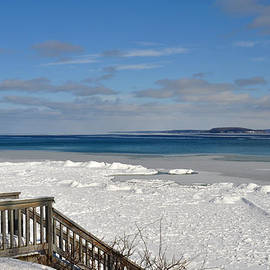Diane Lent - Steps to a snowy beach by Grand Traverse Bay