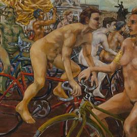 Peregrine Roskilly - Steward guiding naked bike ride outside Buckingham Palace