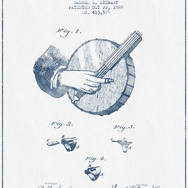 Aged Pixel - Stewart Banjo Patent Drawing From 1888 - Blue Ink