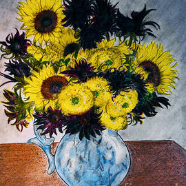 Jose A Gonzalez Jr - Still Life 28 Sunflowers in Blue Porcelain Pitcher