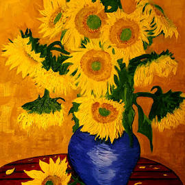 Jose A Gonzalez Jr - Still Life - Blue Vase with 13 Sunflowers