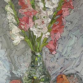 Sergey Sovkov - Still life of with peaches and gladioli