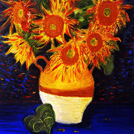 Jose A Gonzalez Jr - Still Life - Vase with 7 Sunflowers