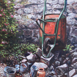 Martin Davey - Still life wheelbarrow with collection of pots by stone wall