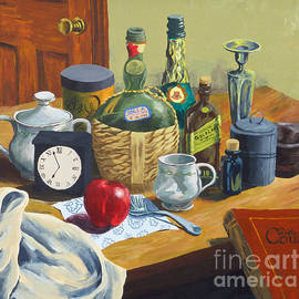 Phillip Castaldi - Still Life with Bottles and Clock
