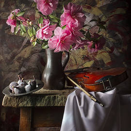 Jon Wild - Still Life with Camellias Violin and Figs