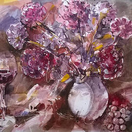 Lorand Sipos - Still life with flowers and wine.